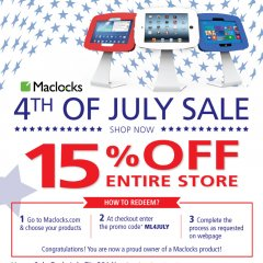 maclocks, sale, 4thofjuly, discount, coupon, savings, independence day, ipad, tablet, ipad enclosure