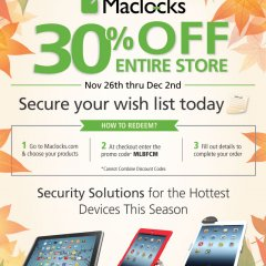 maclocks, black friday, cyber monday, blackfriday, black friday sale, holiday sale, sales, holiday sales, maclocks, compulocks, security, display