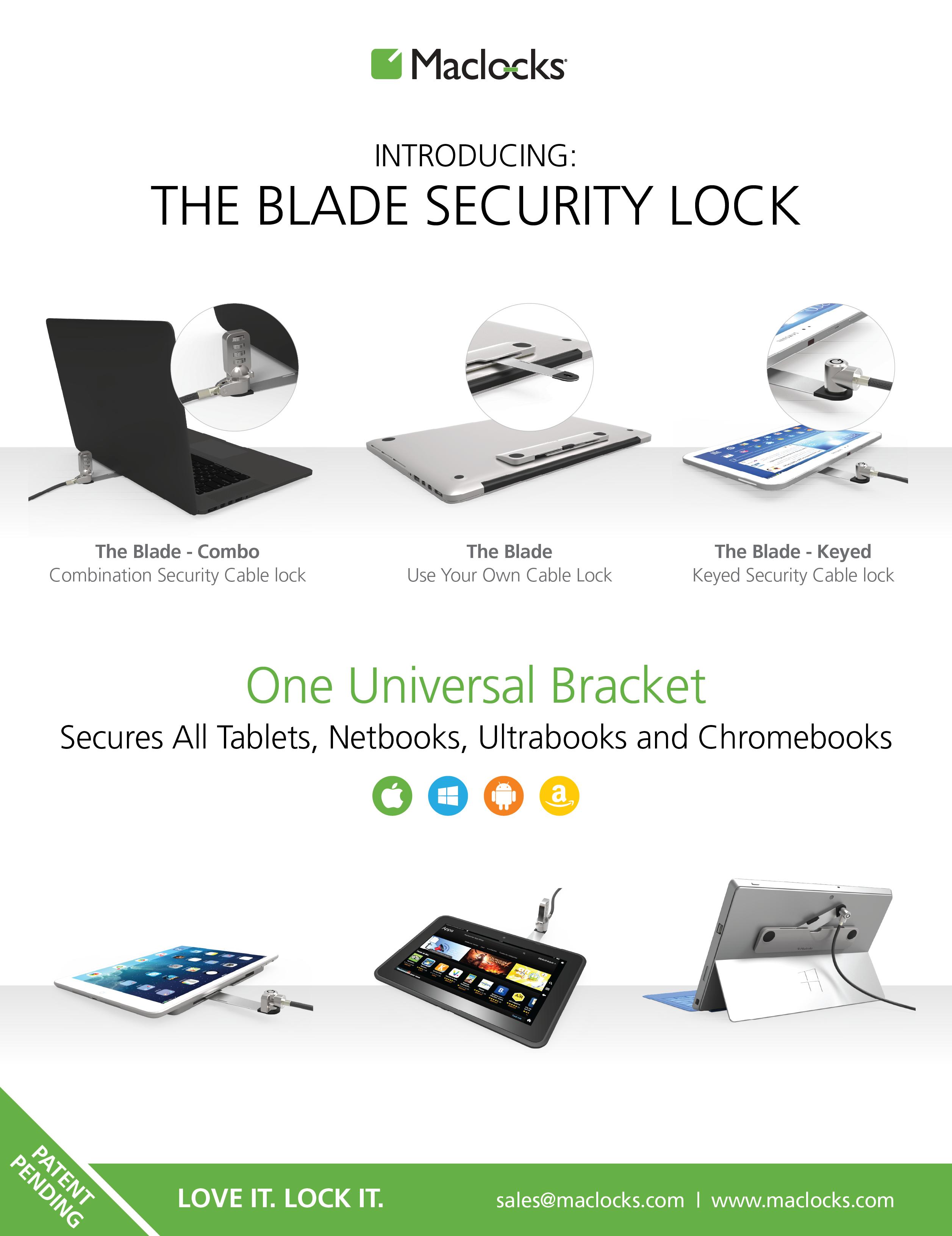 maclocks, mac lock, lock, locks, mac, ipad, tablet, tablets, ipads, apple, samsung, galaxy, kindle, surface, laptop, latops, macbook, macbooks, macbookair, ipad air, ipadair2, blade, the blade, locking bracket, security lock, security, universal